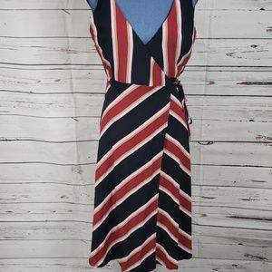 Like New TOPSHOP Striped Midi Wrap Dress